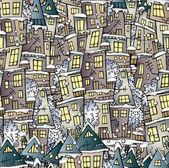 Vector de hadas dibujo de invierno casas de patrones sin fisuras de la historieta — Vector de stock