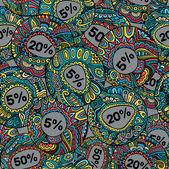 Verkoop decoratieve vector etiketten naadloze patroon — Stockvector