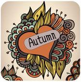 Vector autumn floral card design — Stock Vector