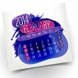 February month year 14 vector hand drawn Calendar card — Stock Vector