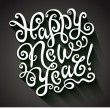 Happy New Year Greeting Card. Decorative hand drawn lettering, vector illustration — Vettoriale Stock