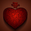 Happy Valentine's Day Greeting Card with Big Red ornamental Heart. Vector illustration — Image vectorielle
