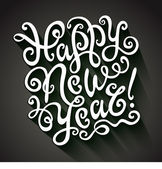 Happy New Year Greeting Card. Decorative hand drawn lettering, vector illustration — Vector de stock
