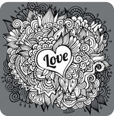 Vintage hand drawn vector Love theme greeting card — Stock Vector
