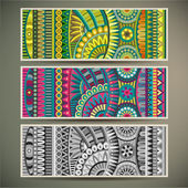 Abstract vector tribal ethnic background set. Three variants of color — Wektor stockowy