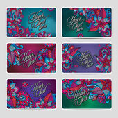 Vector Decorative ornamental ethnic cards set — Vetorial Stock