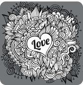 Cartão vintage mão desenhada vetor amor tema — Vetor de Stock