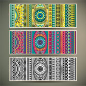 Abstract vector tribal ethnic background set. — Stock Vector