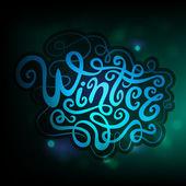 Winter hand lettering - handmade calligraphy — Stock Vector