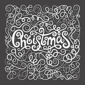 Merry Christmas decorative hand drawn lettering — Vetor de Stock