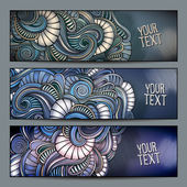 Abstract vector decorative nature ornamental backgrounds set. — Stockvektor