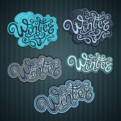 Winter hand lettering set — Stock Vector