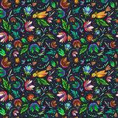 çiçek ve kuş ile desen — Stok Vektör