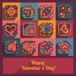 Heart valentine icons greeting card — Stock Vector