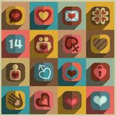 Kalp valentine Icons — Stok Vektör