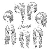 Hair styles sketch vector set — Stock Vector