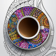 Cup of coffee and hand drawn ornament on a saucer — Stock Vector #43813959