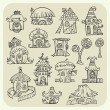 Set of sketch cartoon vector houses — Stock Vector