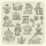 Set of sketch cartoon vector houses — Stock Vector