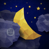 Triangle background with clouds, the new moon and the stars — Stock Vector
