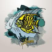 Wektor grafika streszczenie ryba tło grunge — Wektor stockowy