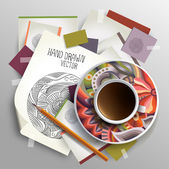 Coffee cup on sketches and paper concept idea — Stock Photo