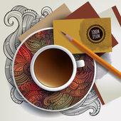 Fincan kahve, kartvizitler ve süs eşyaları — Stok Vektör