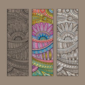 Vintage ethnic pattern card set. — Stockvector
