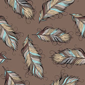 Vintage ethnic vector Feathers seamless pattern — Stock Vector
