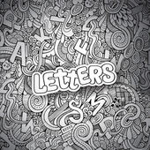 Letters abstract decorative doodles background — Vettoriale Stock