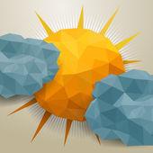 Vektor abstrakt triangel moln och sol — Stockvektor