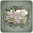 Menu hand lettering and doodles elements — Stock Vector