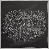 School hand lettering and doodles elements — 图库矢量图片