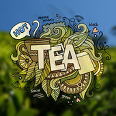 Tea hand lettering and doodles elements — Stock Vector