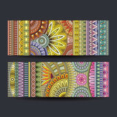 Abstract ethnic pattern cards set — Stock Vector