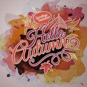 Watercolor paint autumn design — Stock Vector