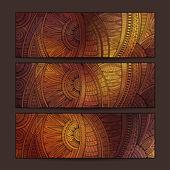 Ethnic pattern card set. — Stock Vector