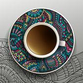 Иллюстрация с чашкой кофе — Cтоковый вектор