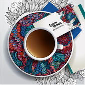 Cup of coffee, business cards — Vecteur