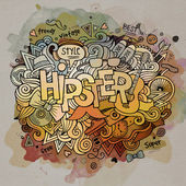 Hipster watercolor cartoon hand lettering and doodles elements — Stockvektor