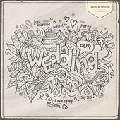Wedding hand lettering and doodles elements background. — Vetorial Stock
