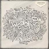 Wedding hand lettering and doodles elements background. — Vecteur