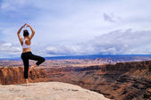 Yoga near the Canyon — Stock Photo