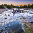 Stock Photo: Norris Geyser Basin at Sunset