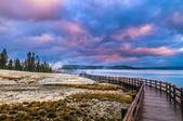 Sunrise in West Thumb Geyser Basin - Yellowstone — Stock Photo
