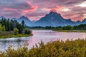 Krásný západ slunce na udělení tetons — Stock fotografie