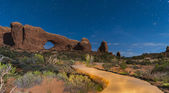 Windows Arches National Park at Night — Stock Photo