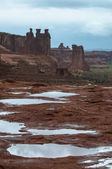 Puddles of water after Rainstorm in the Arches National Park — Stock Photo