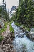 Beautiful creek with view of  Notchtop mountain — Foto Stock