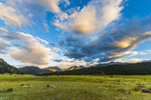 Beautiful Sunset in Moraine Park Colorado Rockies — Stock Photo